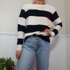Vero moda blue and white striped sweater/cardigan
